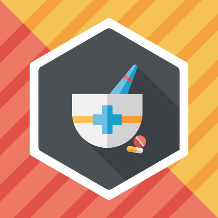 pestle: mortar and pestle flat icon with long shadow