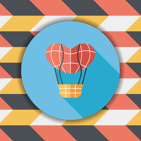 ballooning: Valentines Day hot air balloon flat icon with long shadow Illustration