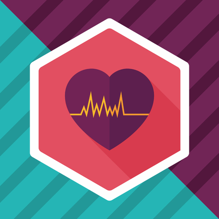 cardiograph: ECG flat icon with long shadow
