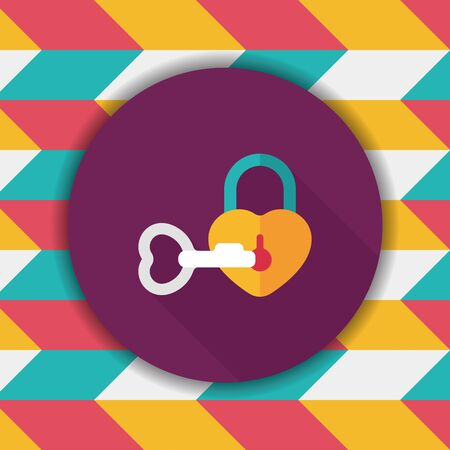 lover: Valentines Day lover lock flat icon with long shadow