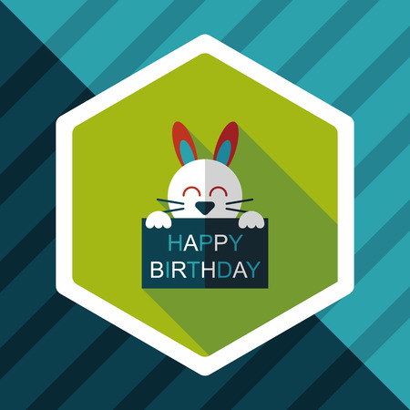romantic couple: Happy birthday rabbit card flat icon with long shadow