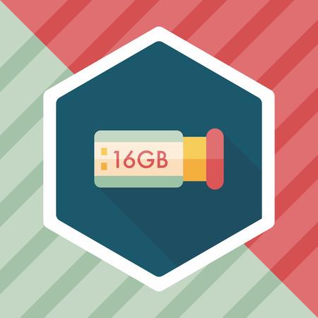 usb flash memory: Usb flash memory flat icon with long shadow