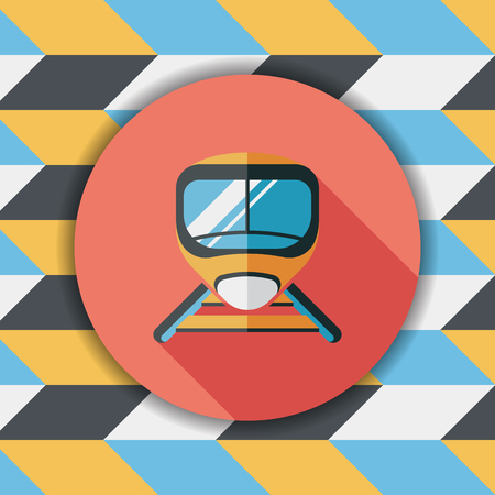 commuting: speed train flat icon with long shadow