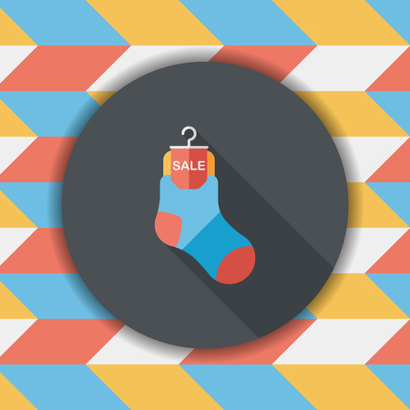 long socks: shopping sale socks flat icon with long shadow