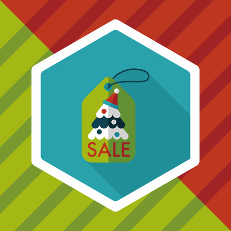 bussiness card: Christmas sale flat icon with long shadow Illustration
