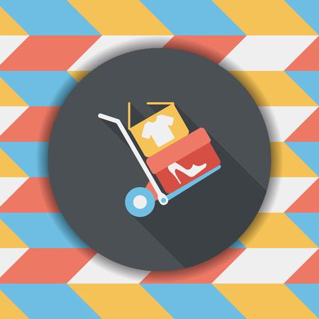 handling: shopping handling trolley flat icon with long shadow