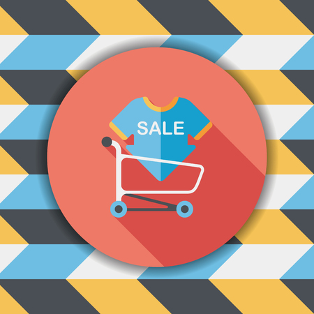 shopsign: shopping sale sign board and cart flat icon with long shadow