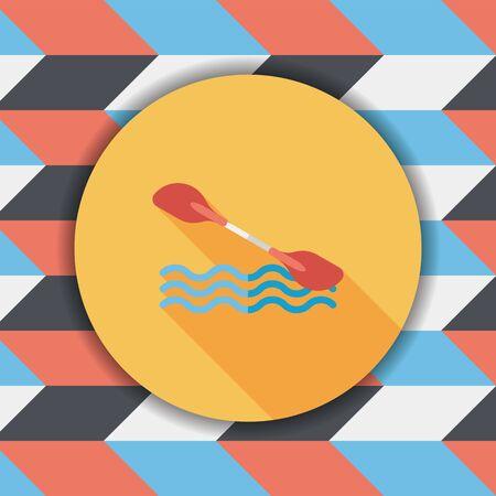 boating: Boating paddle flat icon with long shadow, eps10 Illustration