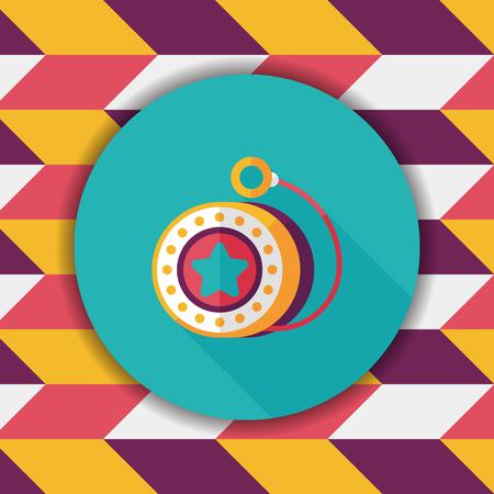play yoyo: yo yo flat icon with long shadow Illustration