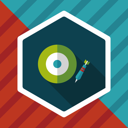 set the intention: Darts target flat icon with long shadow