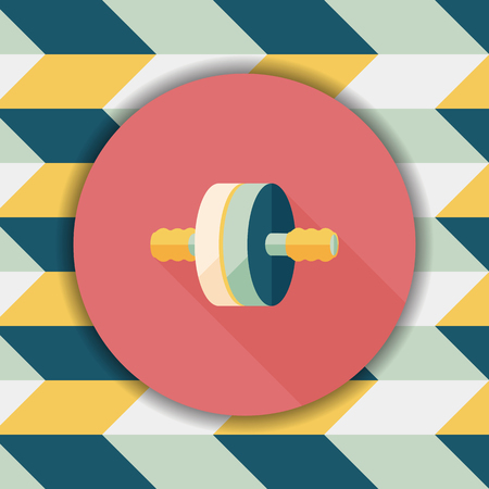 muscle toning: exercise roller flat icon with long shadow