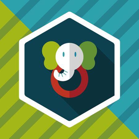 pull toy: icono plana juguete elefante con larga sombra Vectores