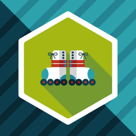 roller skates: Roller skates flat icon with long shadow Illustration