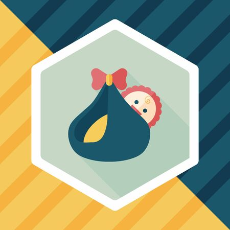 hispanic boy: baby flat icon with long shadow Illustration