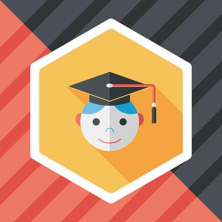 Graduation Man flat icon with long shadow
