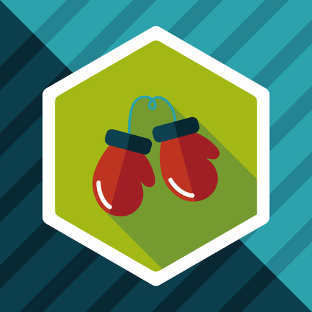 boxing gloves flat icon with long shadow,eps10
