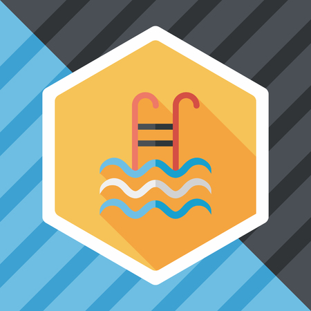 stepladder: swimming pool flat icon with long shadow,eps10