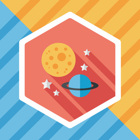 environmental science: Space planet flat icon with long shadow,eps10