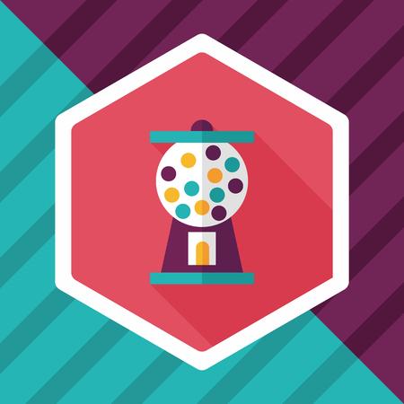 chew: Gum ball Machine flat icon with long shadow,eps10