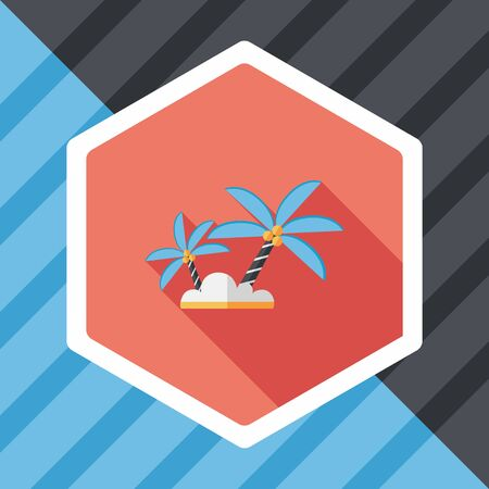 frond: Palm tree flat icon with long shadow,eps10