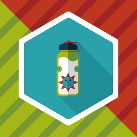 thirsty: sports water bottle flat icon with long shadow,eps10 Illustration