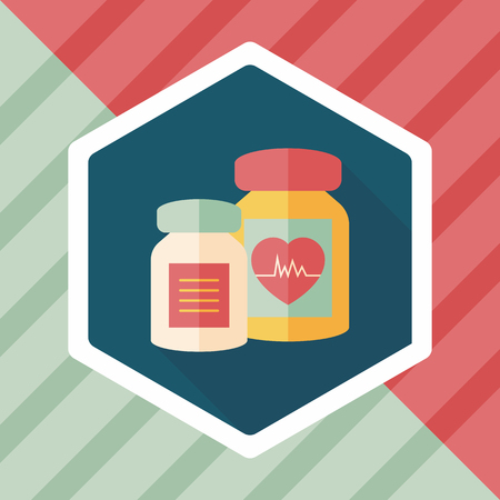 pressure bottle: supplements drug flat icon with long shadow,eps10 Illustration