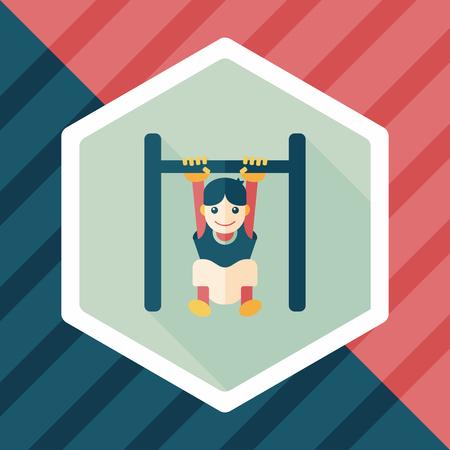 horizontal bar: Boy hanging horizontal bar flat icon with long shadow,eps10