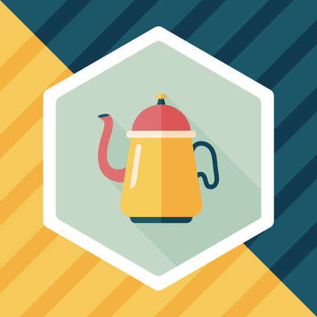pouring: coffee kettle flat icon with long shadow,eps10 Illustration