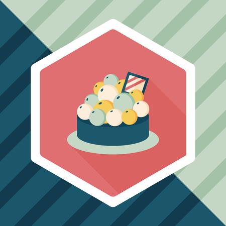 blueberry pie: fruit tart flat icon with long shadow,eps10 Illustration