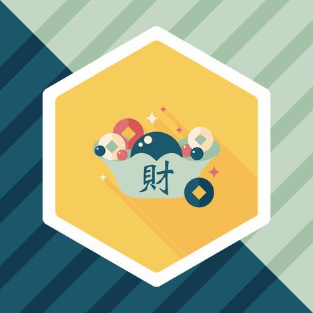 """Cinese icona piatto nuovo anno con una lunga ombra, eps10, Lingotto dell'oro con le parole cinesi significa """"auguro buona fortuna."""" Vettoriali"""