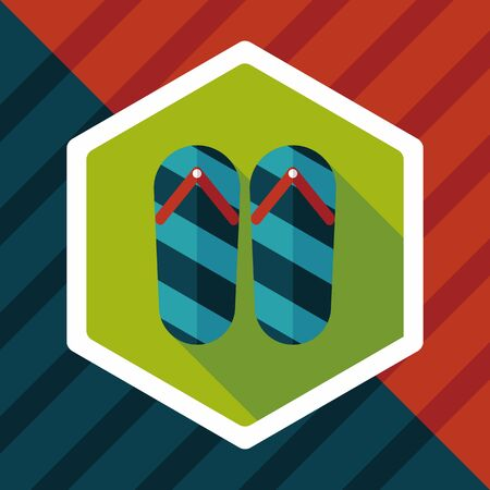 a thong: flip flop flat icon with long shadow,eps10
