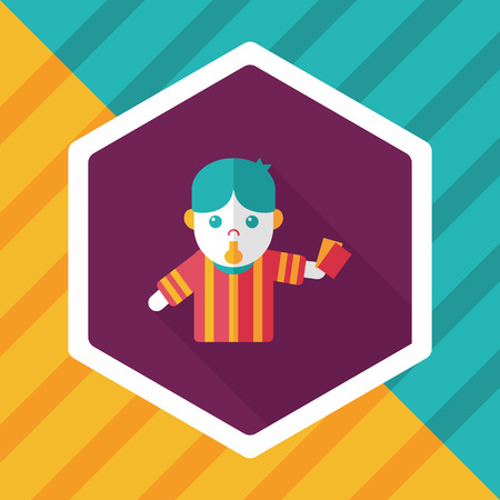 football judge: soccer referee flat icon with long shadow,eps10