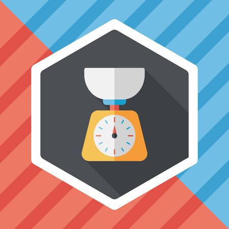 ponder: kitchenware weight scale flat icon with long shadow,eps10