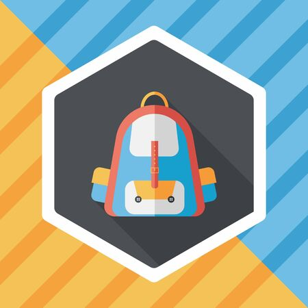 case studies: Backpack flat icon with long shadow,eps10