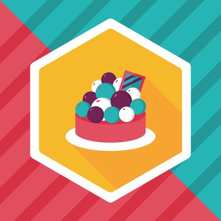 tart: fruit tart flat icon with long shadow,eps10 Illustration