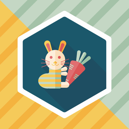 coney: Rabbit with carrot flat icon with long shadow,eps 10 Illustration