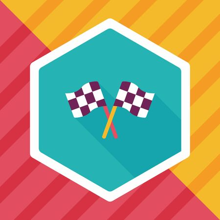 competitive sport: racing flags flat icon with long shadow,eps10 Illustration
