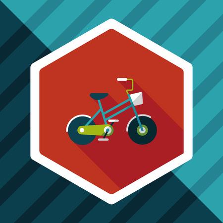 El transporte en bicicleta icono plana con una larga sombra, eps10 Foto de archivo - 57431951
