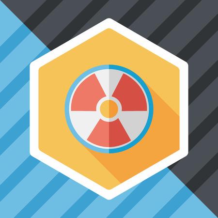 nuke: Radiation flat icon with long shadow Illustration