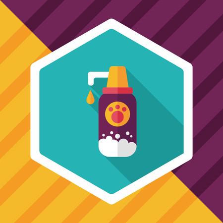 bathe: Pet shampoo flat icon with long shadow,eps10