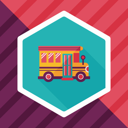 student travel: School Bus flat icon with long shadow,eps10