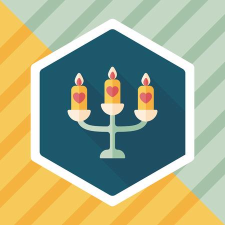 candle holder: wedding candle holder flat icon with long shadow,eps10 Illustration