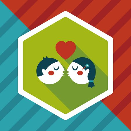 inlove: Valentines day couple flat icon with long shadow,eps10