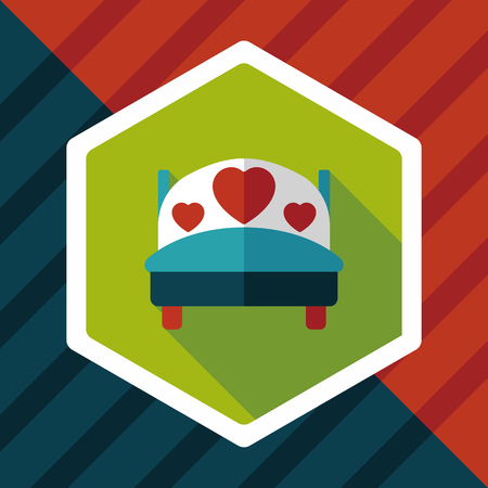 romance bed: wedding couple bed flat icon with long shadow,eps10