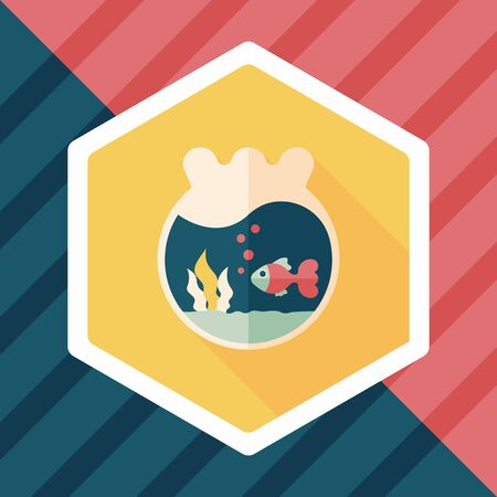 gold fish bowl: Pet goldfish bowl flat icon with long shadow,eps10