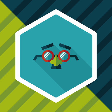 joke glasses: party Mask flat icon with long shadow,eps10