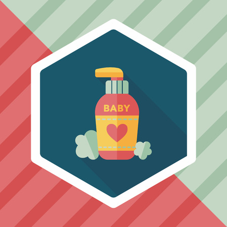 toiletry: baby cosmetics flat icon with long shadow,eps10