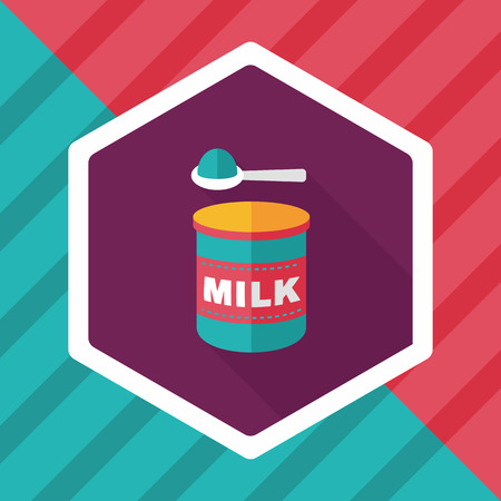measuring spoon: Powdered milk dairy food flat icon with long shadow,eps 10