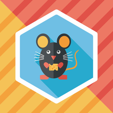mouse cage: Pet mouse cage flat icon with long shadow,eps10 Illustration