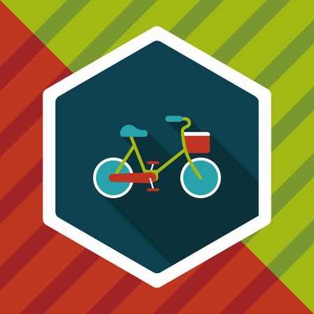 emissions: Environmental protection concept flat icon with long shadow,eps10; More cycling to reduce emissions